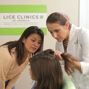 A trained lice-removal technician determining extent of lice infestation